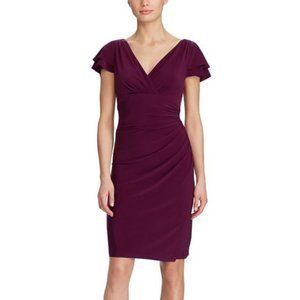 Lauren Ralph Lauren Ruched Flutter Sleeve Dress